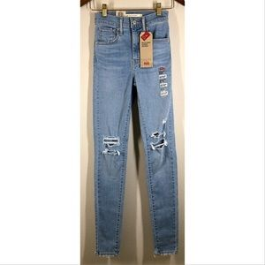 Levi's Mile High Super Skinny High Rise Distressed Jeans 24 NWT